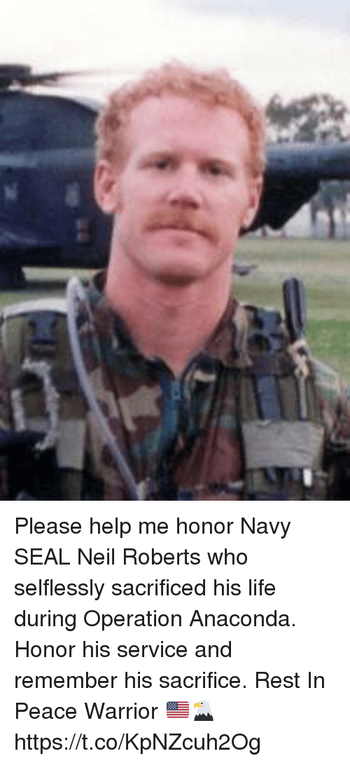 Anaconda, Life, and Memes: Please help me honor Navy SEAL Neil Roberts who selflessly sacrificed his life during Operation Anaconda. Honor his service and remember his sacrifice. Rest In Peace Warrior 🇺🇸🦅 https://t.co/KpNZcuh2Og