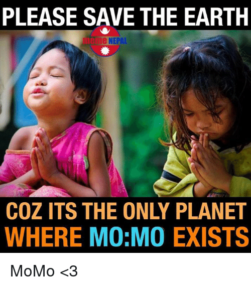 save the earth: PLEASE SAVE THE EARTH  De NEPAL  COZ ITS THE ONLY PLANET  WHERE MO MO EXISTS MoMo <3