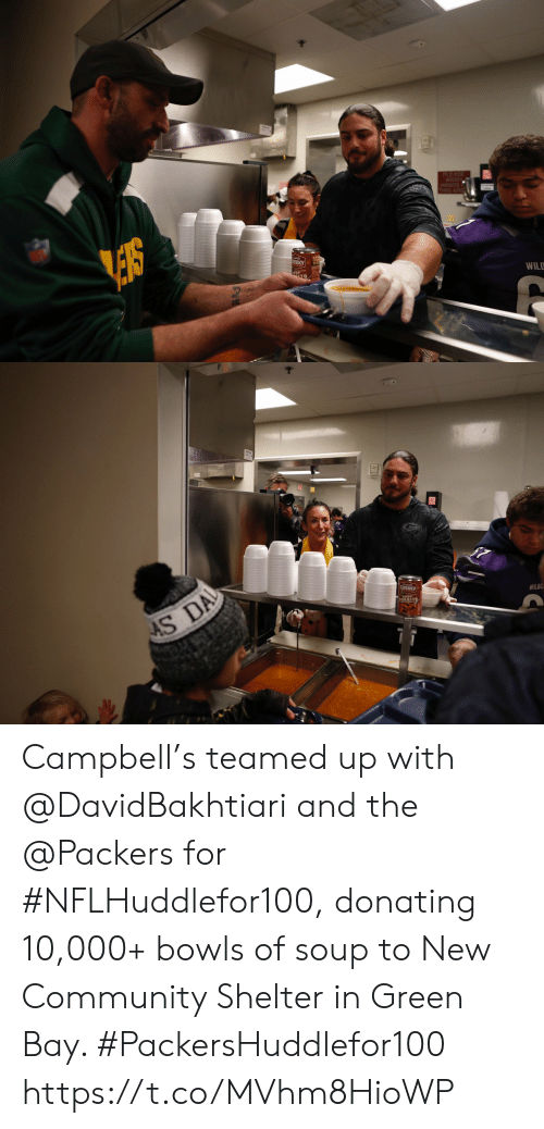 campbell: PLEASE  WASH  HANDS  THIS ARE  NKY  WILD   AS DA  CHUNKY  WILOC Campbell's teamed up with @DavidBakhtiari and the @Packers for #NFLHuddlefor100, donating 10,000+ bowls of soup to New Community Shelter in Green Bay. #PackersHuddlefor100 https://t.co/MVhm8HioWP