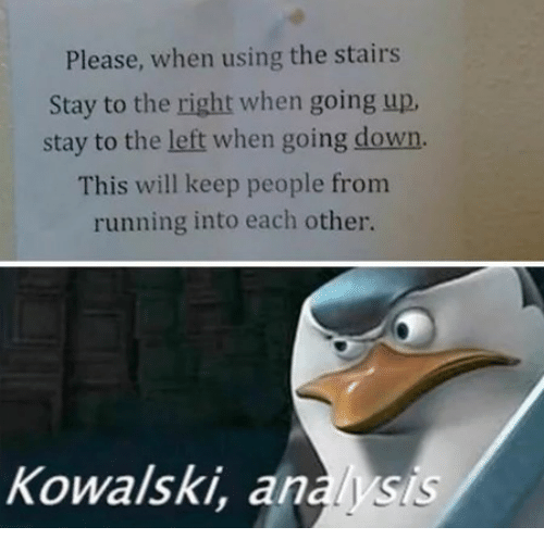Running, Down, and Will: Please, when using the stairs  Stay to the right when going up  stay to the left when going down.  This will keep people from  running into each other.  Kowalski, anaysis