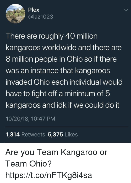Funny, Ohio, and Plex: Plex  @laz1023  There are roughly 40 million  kangaroos worldwide and there are  8 million people in Ohio so if there  was an instance that kangaroos  invaded Ohio each individual would  have to fight off a minimum of 5  kangaroos and idk if we could do it  10/20/18, 10:47 PM  1,314 Retweets 5,375 Likes Are you Team Kangaroo or Team Ohio? https://t.co/nFTKg8i4sa