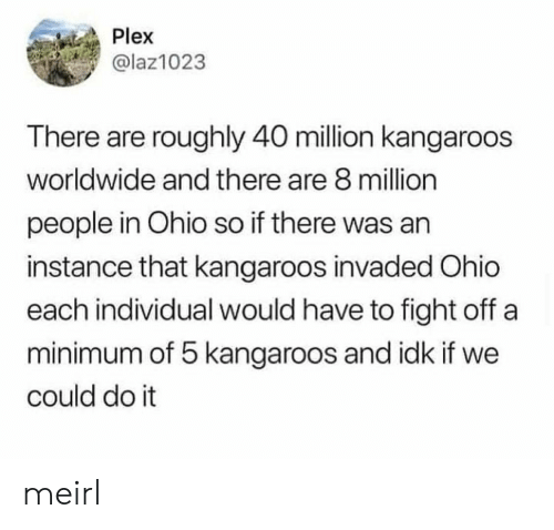 Ohio: Plex  @laz1023  There are roughly 40 million kangaroos  worldwide and there are 8 million  people in Ohio so if there was an  instance that kangaroos invaded Ohio  each individual would have to fight off a  minimum of 5 kangaroos and idk if we  could do it meirl
