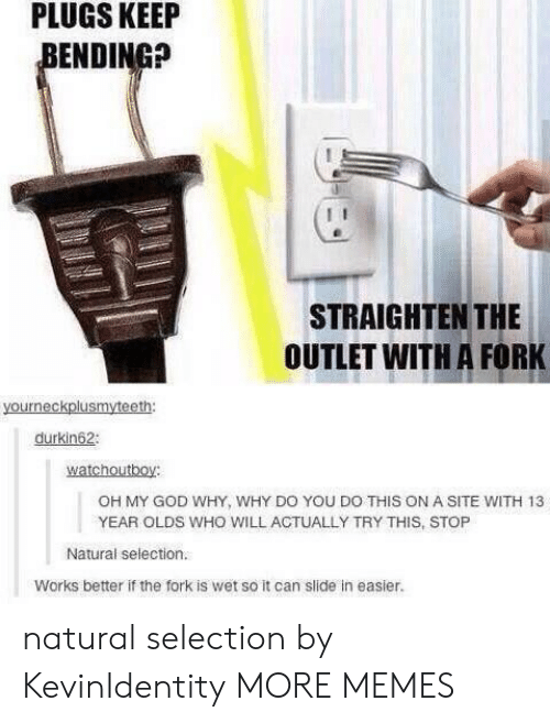 Dank, God, and Memes: PLUGS  KEEIP  ENDING?  STRAIGHTEN THE  OUTLET WITH A FORK  durkin62  watchoutboy:  OH MY GOD WHY, WHY DO YOU DO THIS ON A SITE WITH 13  YEAR OLDS WHO WILL ACTUALLY TRY THIS, STOP  Natural selection.  Works better if the fork is wet so it can slide in easier. natural selection by KevinIdentity MORE MEMES
