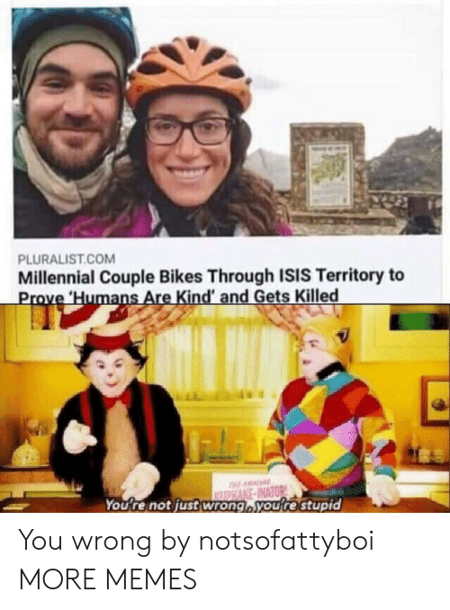 Dank, Isis, and Memes: PLURALIST.COM  Millennial Couple Bikes Through ISIS Territory to  Prove Humans Are Kind' and Gets Killed  AA  ASAKE-INATOR  You're not justwrong,you're stupid You wrong by notsofattyboi MORE MEMES