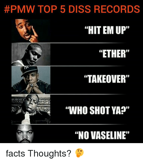 "Diss, Ether, and Facts:  #PMW TOP 5 DISS RECORDS  ""HIT EM UP'""  ""ETHER""  ""TAKEOVER""  ""WHO SHOT YA?""  ""NO VASELINE"" facts Thoughts? 🤔"