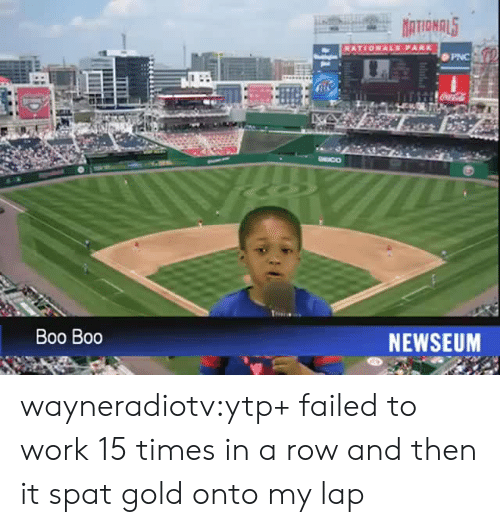 boo boo: PNC  DEICO  Boo Boo  NEWSEUM wayneradiotv:ytp+ failed to work 15 times in a row and then it spat gold onto my lap