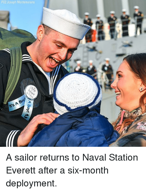 Memes, 🤖, and Joseph: PO2 Joseph Montemarano A sailor returns to Naval Station Everett after a six-month deployment.