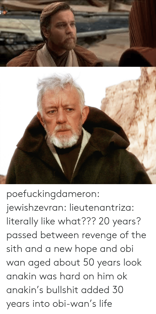 revenge of the sith: poefuckingdameron: jewishzevran:  lieutenantriza:  literally like what??? 20 years? passed between revenge of the sith and a new hope and obi wan aged about 50 years  look anakin was hard on him ok  anakin's bullshit added 30 years into obi-wan's life