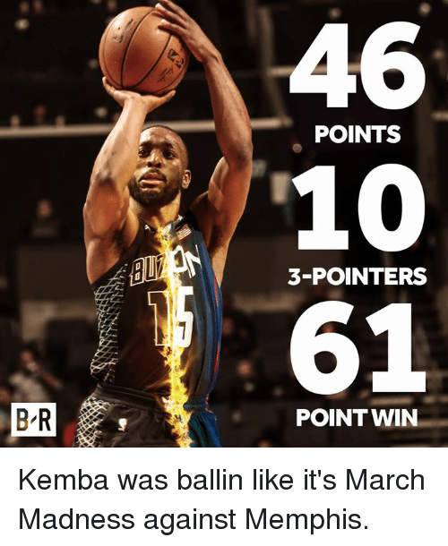 March Madness, Madness, and March: POINTS  10  61  3-POINTERS  POINT WIN  B-R Kemba was ballin like it's March Madness against Memphis.