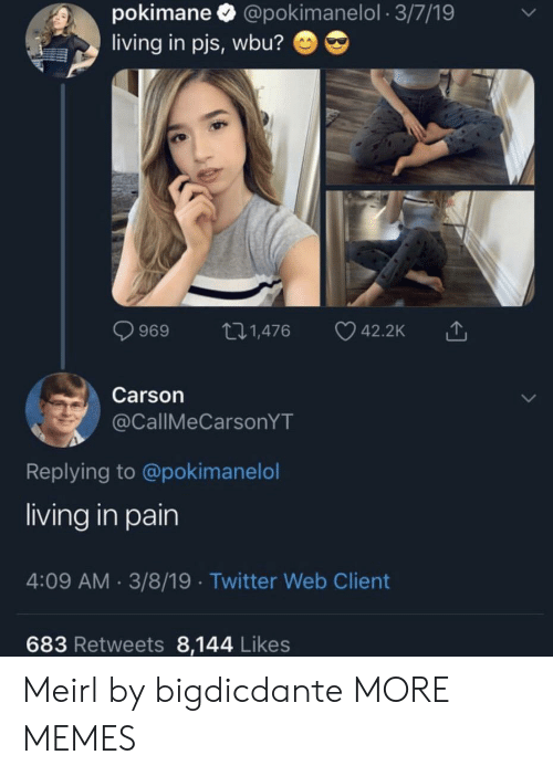 Dank, Memes, and Target: pokimane @pokimanelol 3/7/19  living in pjs, wbu?  t.1,476  42.2K  969  Carson  @CallMeCarsonYT  Replying to @pokimanelol  living in pain  4:09 AM 3/8/19 Twitter Web Client  683 Retweets 8,144 Likes Meirl by bigdicdante MORE MEMES