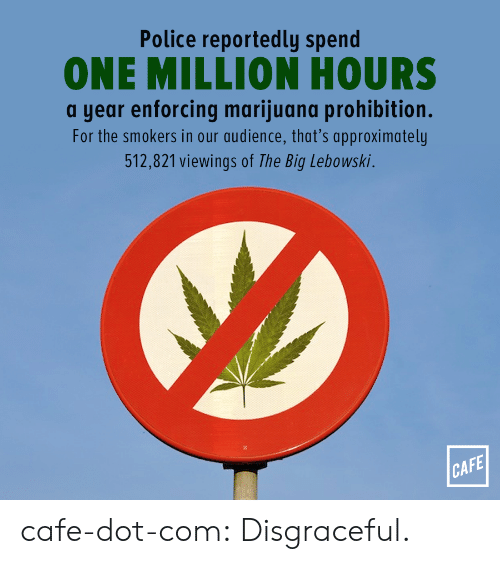 Police, Tumblr, and Blog: Police reportedly spend  ONE MILLION HOURS  a year enforcing marijuana prohibition.  For the smokers in our audience, that's approximately  512,821 viewings of The Big Lebowski.  CAFE cafe-dot-com: Disgraceful.