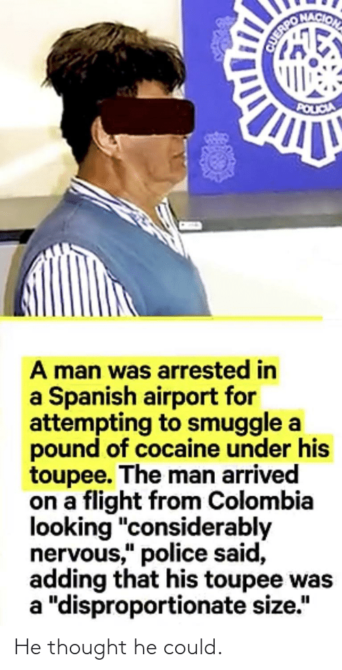 "Police, Spanish, and Cocaine: POLICIA  A man was arrested in  a Spanish airport for  attempting to smuggle a  pound of cocaine under his  toupee. The man arrived  on a flight from Colombia  looking ""considerably  nervous,"" police said,  adding that his toupee was  a ""disproportionate size."" He thought he could."