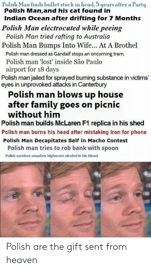 Family, Gandalf, and Head: Polish Man finds bullet stuck in head, 5 years after a Party  Polish Man,and his cat found in  Indian Ocean after drifting for 7 Months  Polish Man electrocuted while peeing  Polish Man tried rafting to Australia  Polish Man Bumps Into Wife... At A Brothel  Polish man dressed as Gandalf stops an oncoming tram.  Polish man 'lost' inside São Paulo  airport for 18 days  Polish man jailed for sprayed burning substance in victims  eyes in unprovoked attacks in Canterbury  Polish man blows up house  after family goes on picnic  without him  Polish man builds McLaren F1 replica in his shed  Polish man burns his head after mistaking iron for phone  Polish Man Decapitates Self in Macho Contest  Polish man tries to rob bank with spoon  Polish survivor smashes highscore alcohol in his blood Polish are the gift sent from heaven