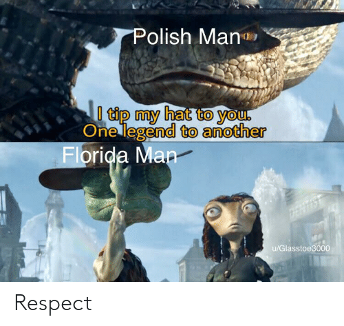 Florida Man, Respect, and Florida: Polish Man  tip my hat to you.  One legend to another  Florida Man  u/Glasstoe3000 Respect