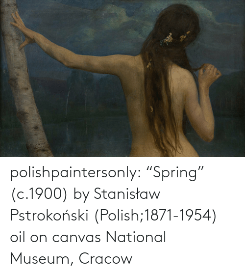 "Canvas: polishpaintersonly: ""Spring"" (c.1900) by  Stanisław Pstrokoński (Polish;1871-1954) oil on canvas National Museum, Cracow"