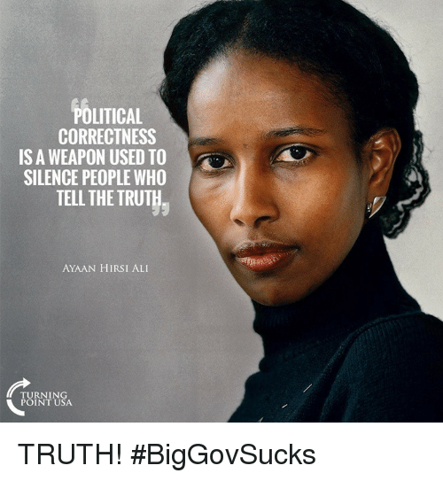 Ali, Memes, and Political Correctness: POLITICAL  CORRECTNESS  IS A WEAPON USED TO  SILENCE PEOPLE WHO  TELL THE TRUT  AYAAN HIRSI ALI  TURNING  POINT USA TRUTH! #BigGovSucks