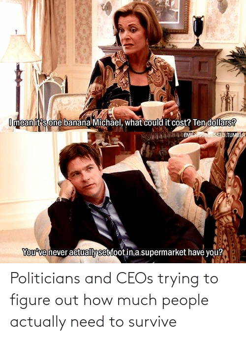 Politicians: Politicians and CEOs trying to figure out how much people actually need to survive