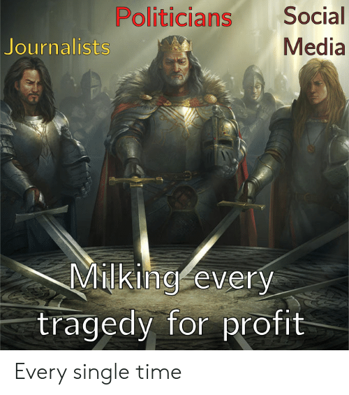 Reddit, Social Media, and Time: Politicians  Social  Media  Journalists  Milking every  tragedy for profit Every single time