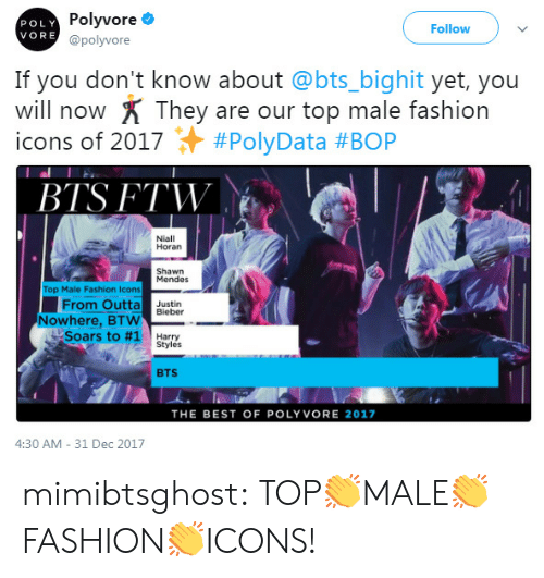 Fashion, Ftw, and Tumblr: POLY  VORE  Polyvore  @polyvore  Follow  If you don't know about @bts_bighit yet, you  will now X They are our top male fashion  icons of 2017 + #PolyData #BOP  BTS FTW  Niall  Horan  Shawn  Mendes  Top Male Fashion Icons  From Outta ustin  Nowhere, BTW B  Soars to #1  Harry  Styles  BTS  THE BEST OF POLYVORE 2017  4:30 AM- 31 Dec 2017 mimibtsghost:  TOP👏MALE👏FASHION👏ICONS!
