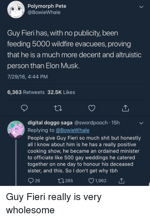 Guy Fieri, Shit, and Tbh: Polymorph Pete  @BowieWhale  Guy Fieri has, with no publicity, been  feeding 5000 wildfire evacuees, proving  that he is a much more decent and altruistic  person than Elon Musk  7/29/18, 4:44 PM  6,363 Retweets 32.5K Likes  digital doggo saga @swordpooch 15h  Replving to @BowieWhale  People give Guy Fieri so much shit but honestly  all I know about him is he has a really positive  cooking show, he became an ordained minister  to officiate like 500 gay weddings he catered  together on one day to honour his deceased  sister, and this. So I don't get why tbh  26  1265  1,962 Guy Fieri really is very wholesome
