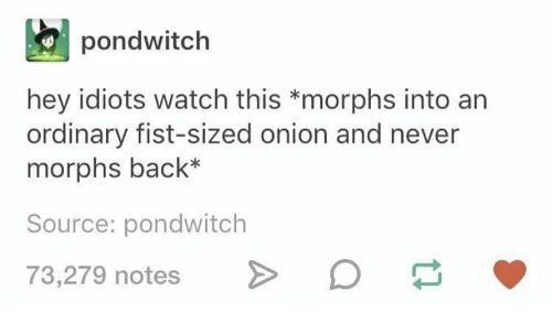 Onion, Watch, and Never: pondwitch  hey idiots watch this *morphs into an  ordinary fist-sized onion and never  morphs back*  Source: pondwitch  73,279 notes o