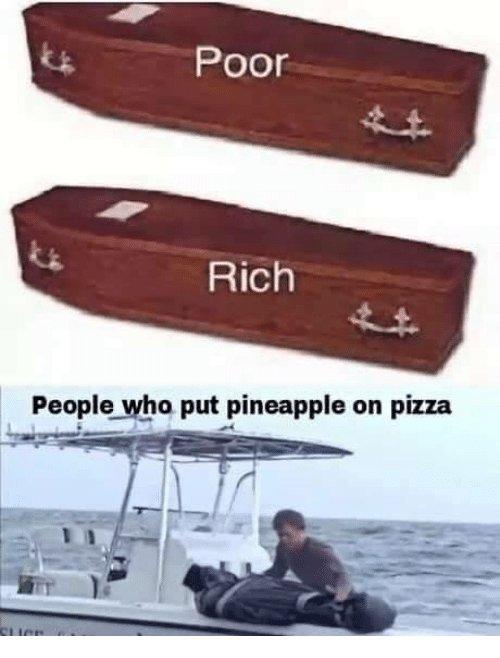 Pizza, Pineapple, and Who: Poor  Rich  People who put pineapple on pizza