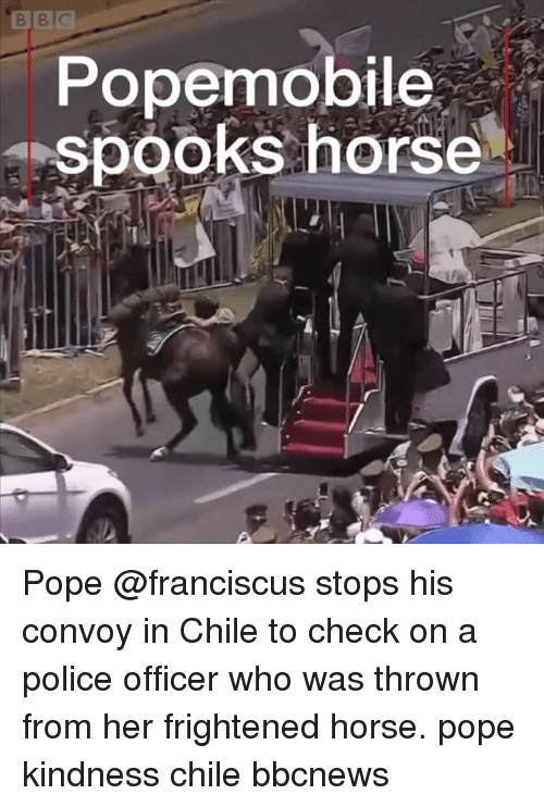 Memes, Police, and Pope Francis: Popemobile  spooks horse Pope @franciscus stops his convoy in Chile to check on a police officer who was thrown from her frightened horse. pope kindness chile bbcnews