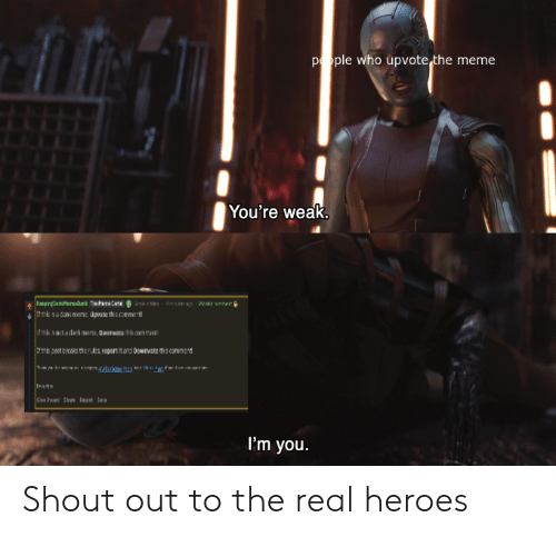 Meme, Heroes, and The Real: pople who upvote the meme  You're weak.  ws-9mste  rren  pre rark Ta  rmk sacana mema, Upwate ths commert  fek sntadek mens, Doumote thik amman  e coct breake the ruks report it and Downvoce ths commart  Insts  Gkn Shre t S  I'm you. Shout out to the real heroes