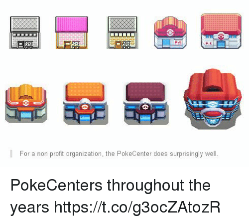 For, Well, and  Years: PORE  For a non proft organization, the PokeCenter does surprisingly well PokeCenters throughout the years https://t.co/g3ocZAtozR