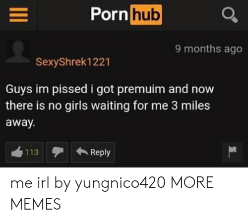 Dank, Girls, and Memes: Porn  hub  9 months ago  SexyShrek1221  Guys im pissed i got premuim and now  there is no girls waiting for me 3 miles  away  113Reply me irl by yungnico420 MORE MEMES
