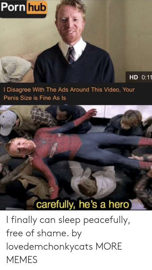 Dank, Memes, and Porn Hub: Porn hub  HD 0:11  I Disagree With The Ads Around This Video, Your  Penis Size is Fine As Is  carefully, he's a hero) I finally can sleep peacefully, free of shame. by lovedemchonkycats MORE MEMES
