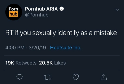 Pornhub, Porn, and Aria: Porn Pornhub ARIA  hub@Pornhub  RT if you sexually identify as a mistake  4:00 PM. 3/20/19 Hootsuite Inc.  19K Retweets 20.5K Likes