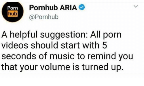 videos: Pornhub ARIA  Porn  hub  @Pornhub  A helpful suggestion: All porn  videos should start with 5  seconds of music to remind you  that your volume is turned up.
