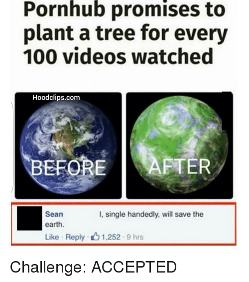 Funny, Pornhub, and Videos: Pornhub promises to  plant a tree for every  100 videos watched  Hoodclips.com  EFORE  AFTER  Sean  I, single handedly, will save the  earth.  Like Reply 1.252 9 hrs Challenge: ACCEPTED