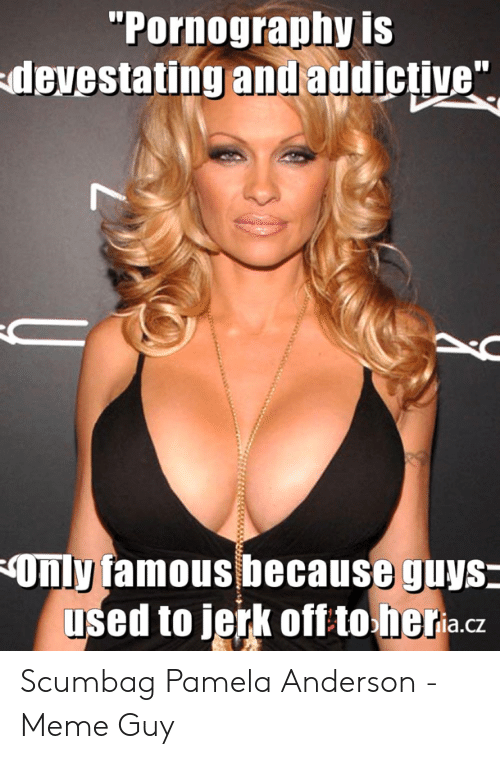 """Meme, Pornography, and Scumbag: Pornography IS  devestating andaddictive""""  Only famous because guys  used to jerk off to heria.cz Scumbag Pamela Anderson - Meme Guy"""