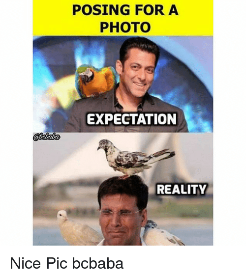 Memes, Reality, and Nice: POSING FOR A  PHOTO  EXPECTATION  REALITY Nice Pic bcbaba