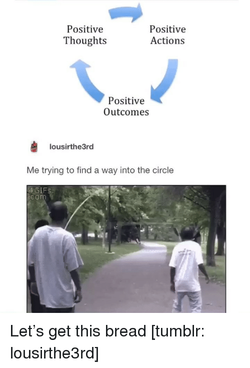 Funny, Tumblr, and Com: Positive  Thoughts  Positive  Actions  Positive  Outcomes  lousirthe3rd  Me trying to find a way into the circle  4GIFS  com Let's get this bread [tumblr: lousirthe3rd]