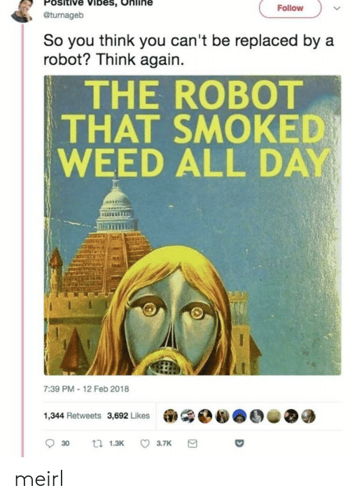 positive vibes: Positive Vibes, Online  , @turnageb  Follovw  So you think you can't be replaced by a  robot? Think again.  THE ROBOT  THAT SMOKED  WEED ALL DAY  liz  7:39 PM-12 Feb 2018  1,344 Retweets 3,692 Likes meirl