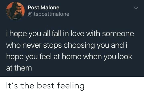 Fall, Love, and Post Malone: Post Malone  @itsposttmalone  i hope you all fall in love with someone  who never stops choosing you and i  hope you feel at home when you look  at them It's the best feeling