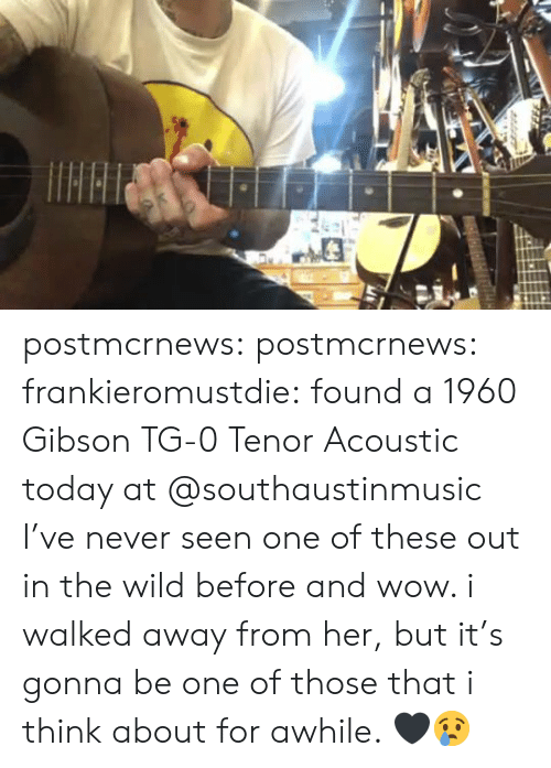 Instagram, Tumblr, and Wow: postmcrnews:  postmcrnews:  frankieromustdie: found a 1960 Gibson TG-0 Tenor Acoustic today at @southaustinmusic I've never seen one of these out in the wild before and wow. i walked away from her, but it's gonna be one of those that i think about for awhile. 🖤😢