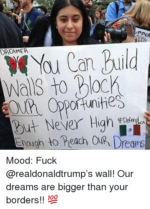 Memes, Mood, and Fuck: PPo  You Can uild  DREAMEPh  Wals to Block  OU Opportunities  But Never High  nough to heach Out  ACA Mood: Fuck @realdonaldtrump's wall! Our dreams are bigger than your borders!! 💯