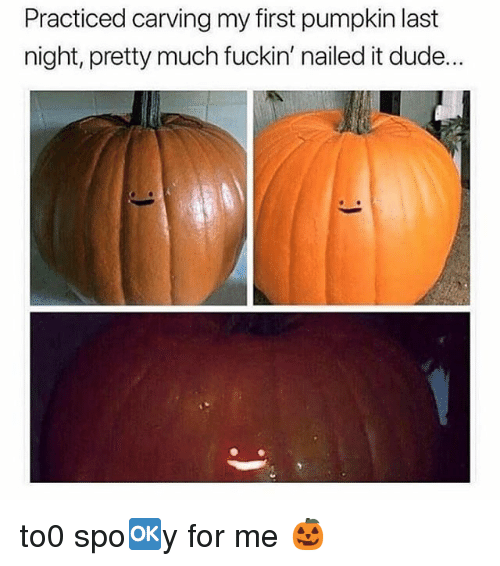 Dude, Memes, and Pumpkin: Practiced carving my first pumpkin last  night, pretty much fuckin' nailed it dude... to0 spo🆗️y for me 🎃