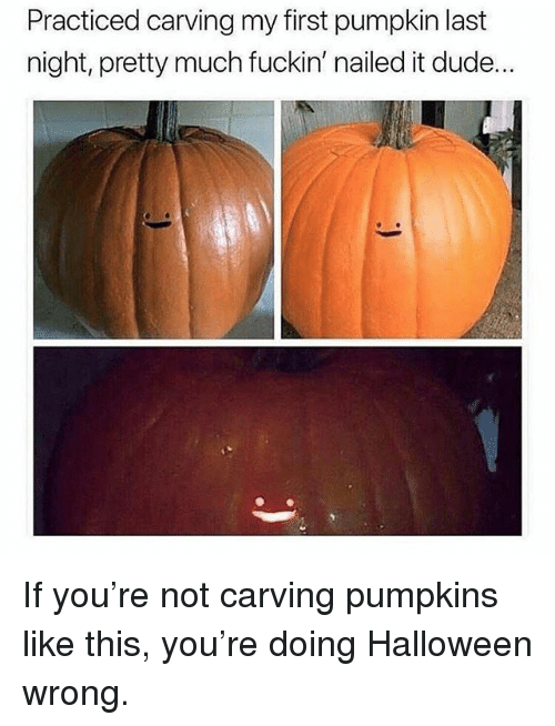 Dude, Halloween, and Memes: Practiced carving my first pumpkin last  night, pretty much fuckin' nailed it dude... If you're not carving pumpkins like this, you're doing Halloween wrong.