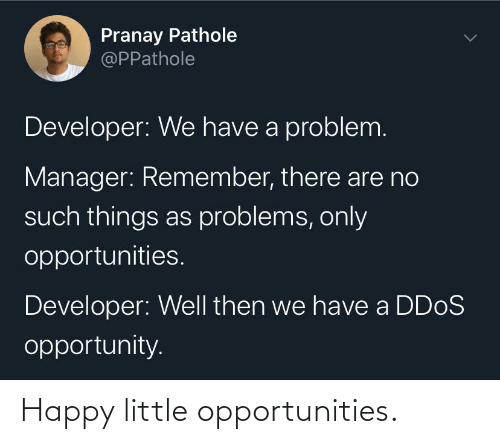 There Are: Pranay Pathole  @PPathole  Developer: We have a problem.  Manager: Remember, there are no  such things as problems, only  opportunities.  Developer: Well then we have a DD0S  opportunity. Happy little opportunities.
