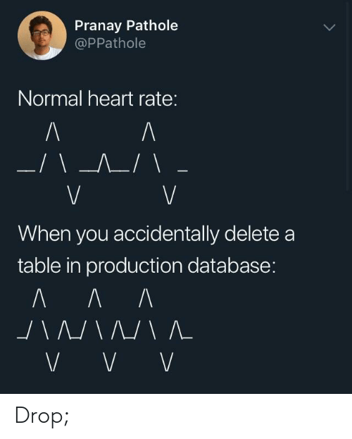 database: Pranay Pathole  @PPathole  Normal heart rate:  When you accidentally deletea  table in production database: Drop;