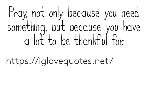 Net, You, and For: Pray, not only because you need  something aut because you  have  lot to be thankful for https://iglovequotes.net/