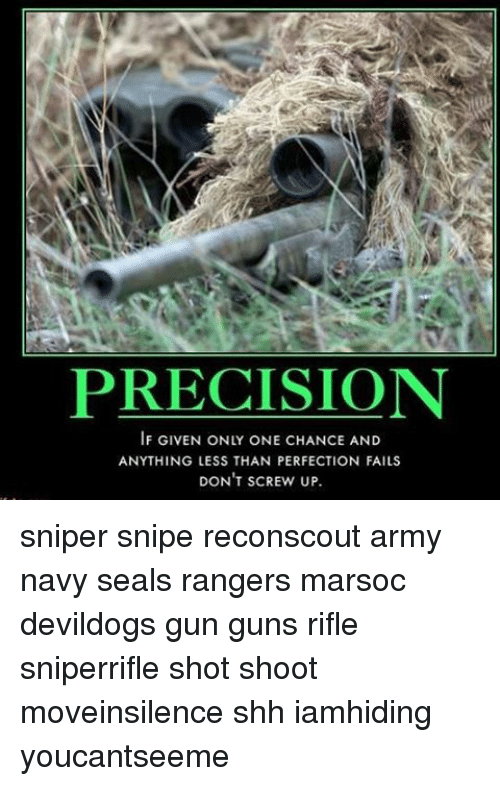 Guns, Memes, and Army: PRECISION  IF GIVEN ONLY ONE CHANCE AND  ANYTHING LESS THAN PERFECTION FAILS  DON'T SCREW UP sniper snipe reconscout army navy seals rangers marsoc devildogs gun guns rifle sniperrifle shot shoot moveinsilence shh iamhiding youcantseeme