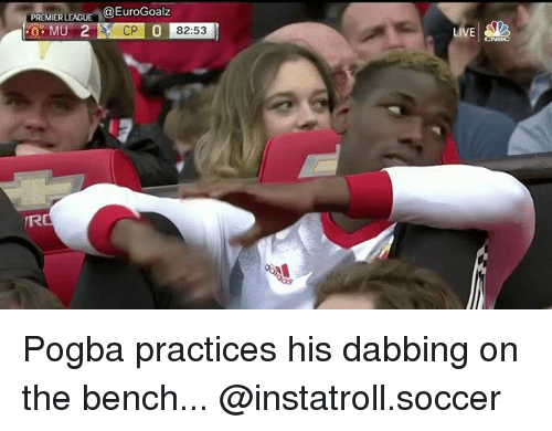 premiere league: PREMIER LEAGU  @EuroGoalz  CP 0 82:53  LIVE Pogba practices his dabbing on the bench... @instatroll.soccer