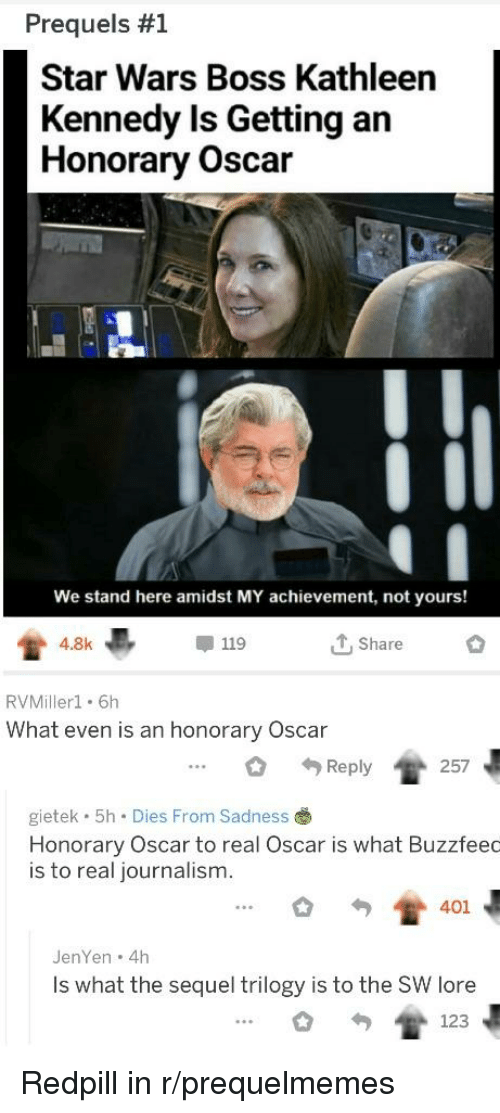 Star Wars, Star, and Oscar: Prequels #1  Star Wars Boss Kathleen  Kennedy Is Getting an  Honorary Oscar  We stand here amidst MY achievement, not yours!  4 8k  甲119  Share  RVMillerl. 6h  What even is an honorary Oscar  .. 257  Reply  gietek 5h Dies From Sadness  Honorary Oscar to real Oscar is what Buzzfeec  is to real journalism.  JenYen 4h  Is what the sequel trilogy is to the SW lore  oT 123