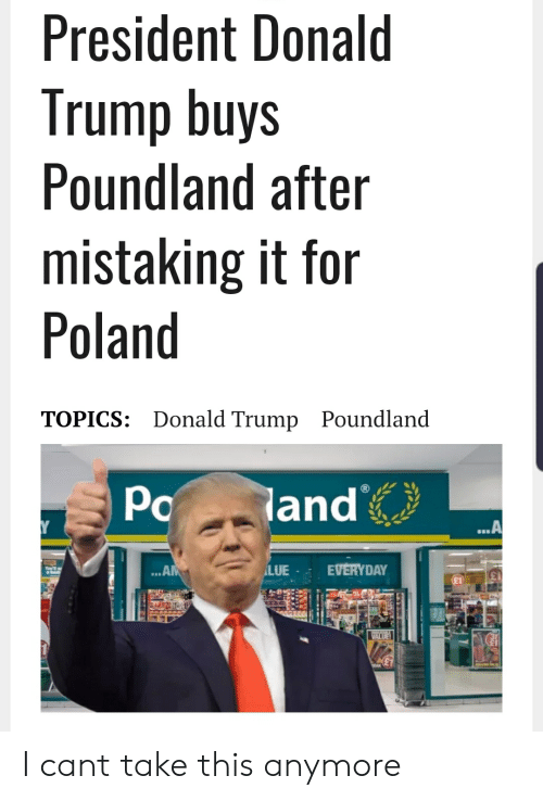 Donald Trump, Reddit, and Trump: President Donald  Trump buys  Poundland after  mistaking it for  Poland  TOPICS: Donald Trump Poundland  Po  land  ..A  LUE  EVERYDAY  .AM  Youll  VALUE I cant take this anymore